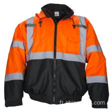 Hi Vis Bomber Safety Work Jacket Coat Hood Vêtements de travail